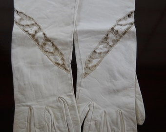 White Kid Gloves, Cutwork and Embroidery, Just Past the Wrist Length
