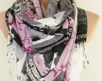 Pink and White Soft Scarf Oversize Shawl Autumn Winter Scarf Neck Warmer Large Scarf Women Fashion Accessories Holiday Christmas Gift Ideas