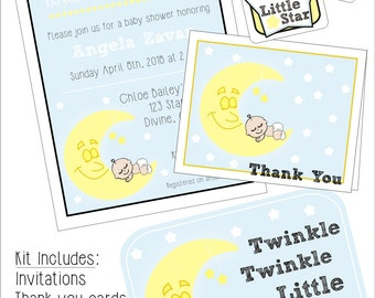 Twinkle Twinkle Little Star Baby Shower Kit, Instant download