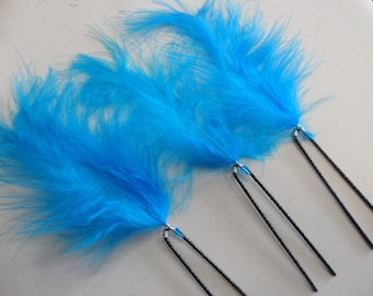 3 turquoise feather bridal hair accessories hair pins