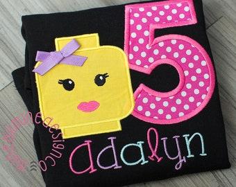 Girls Personalized Building Block Birthday Shirt, Lego Blocks First Birthday Shirt, Blocks Second Birthday, Blocks Personalized Black Shirt