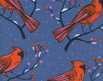 Cotton + Steel Winter Forest Blue, Blue Cardinal Fabric