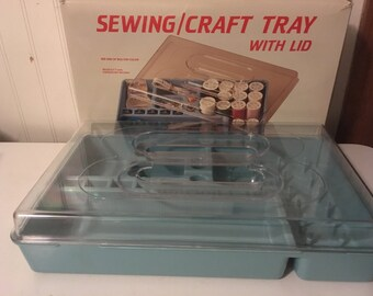 Blue Dritz Lidded Craft Tray - Sewing Basket Box