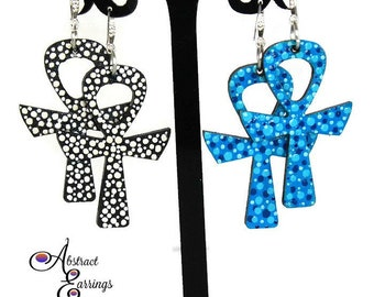 Polkadot Ankh Earrings, Hand Painted Wooden Symbol Earrings, Afrocentric Egyptian Goth Key Earrings, Natural Hair Earrings, Ankh Jewelry