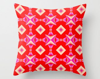 Red Pattern, Pillow Cover, 16x16, 18x18, 20x20,home decoration, interior design,colorful,kids decor,Modern Living,Mosaic,Contemporary Decor