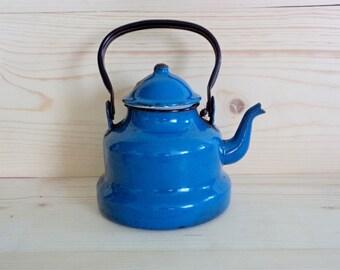 Bouilloire bleu Vintage, ancienne théière bleu, métal émaillé Vintage, émail bouilloire, ustensiles de cuisine, cuisine de campagne, ferme Home Decor