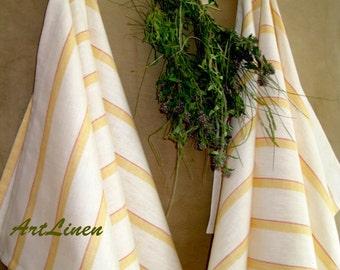 Linen tea towel White linen towel Set of 2 striped towels Linen kitchen towel Rustic towel Fabric towel Kitchen linens Dishcloths Tea towel