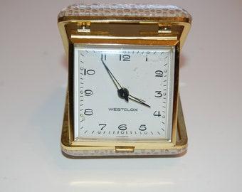 Westclox Travel Alarm Clock, Vintage Wind up Alarm Clock, Brown Alarm Clock, Brown Westclox, Travel Clock, Retro Alarm Clock