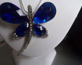 Large blue butterfly necklace