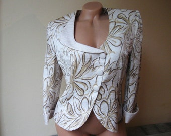 SALE Elegant short jacket Vintage floral crop jacket beige coat European 40