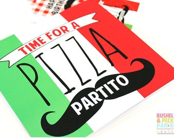 SAMPLE SALE - 50% OFF - Pizza Party Invites - Set of 10 Fill-In Invites