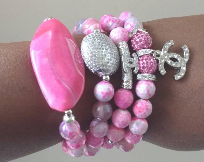 Designer Inspired Ladies Pink Agate Stone, Silver Zircon and Paved Stretch Bracelet Stack, Wedding jewelry