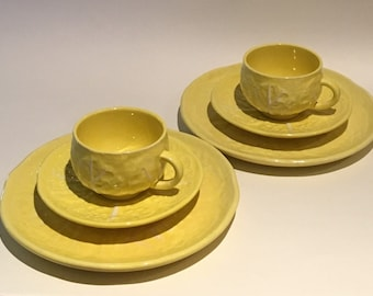 "Vintage Sercla Yellow ""Cabbage"" Luncheon Set"
