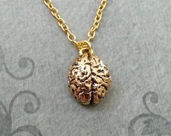 Brain Necklace SMALL Brains Necklace Gothic Necklace Anatomical Brain Charm Necklace Human Brain Pendant Gold Brain Jewelry Horror Jewelry