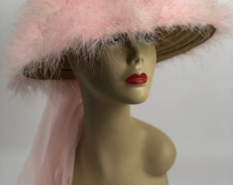 Lovely 1960s pink marabou feather hat