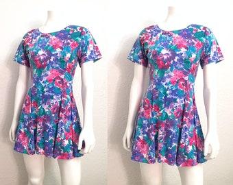 Vintage Dress / Retro Dress / 90s Dress / 1990s Dress / Floral Dress / Flower Dress / Mini Dress / Minidress / Short Dress / Small Dress