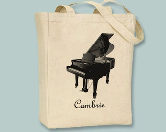Grand Piano Canvas Tote - Selection of sizes and personalization available (pictured, and 1 dollar extra)