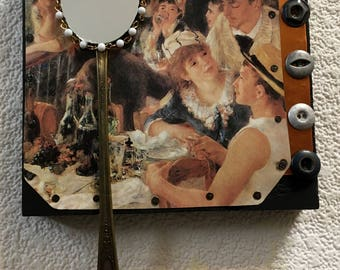 1880s Renoir upcycled mirror art,luncheon of the boating party mirror,copper collage mirror,recycled assemblage,entryway mirror,cabin decor,