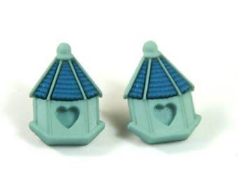 Bird house earrings, Bird house studs, Spring earrings, Spring studs, Heart studs