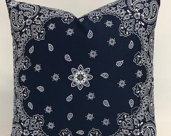 Pillow Cover - Bandana Pillow - Navy Bandana Pillow- Country Pillow - Farmhouse Pillow - Western Pillow - Lined - Zipper - 18 x 18 - 20 x 20