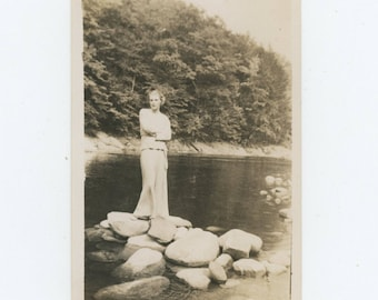 Vintage Snapshot Photo: Lady of the River (711617)