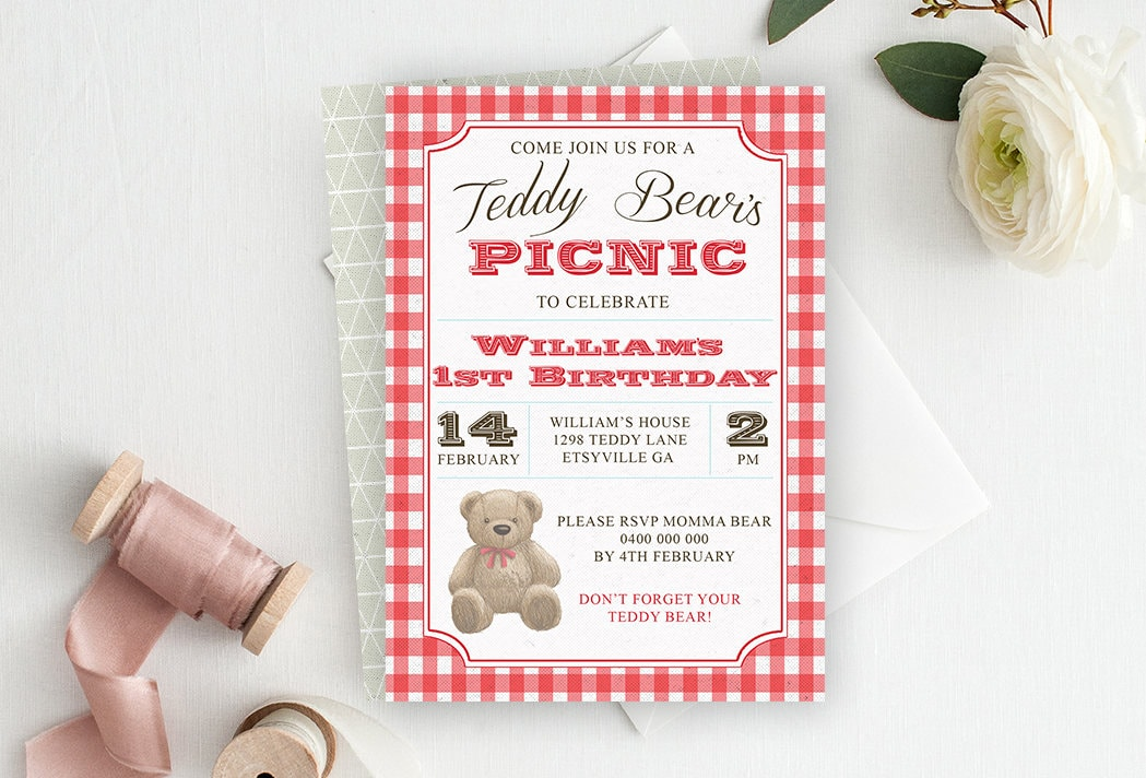 Teddy Bear Invitation Teddy Bear Picnic Invitation Bear