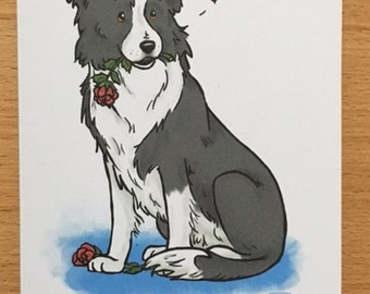 Border Collie Rose card.