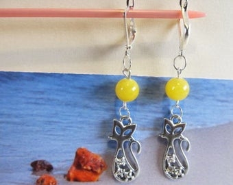 Cat Amber Earrings round yellow Natural Baltic beads opaque 5.7 gr. with crystals silver color french clasp chandelier for catlovers