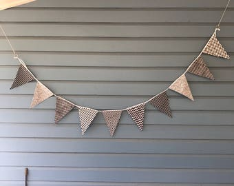 Momochrome geometric bunting. Black and white bunting.