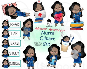 African american nurse planner stickers,doctor clipart instant download,clipart commercial use,PNG file 300 DPI A012