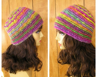 "Reversible crochet hat, fuschia, lime, raspberry, blue acrylic yarn,  will fit most, 20"" around does have some stretch"