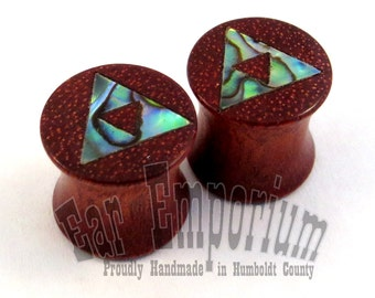 "Abalone TriForce Inlay on Bloodwood Plugs PAIR 0g (8mm) 00g (9mm) (10mm) 7/16"" (11 mm) 1/2"" (13 mm) 9/16"" 14 mm 5/8"" 16 mm Wooden Ear Gauges"