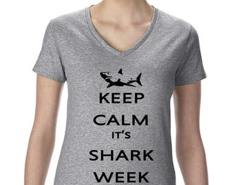 Keep Calm It's Shark Week Graphic T-Shirt Dicovery Channel
