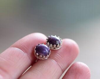 Sterling Silver Charoite Earrings. Crown Bezel Purple Stone Studs. Minimal Earrings. Gift for Daughter. Birthday Earrings. Bezel Studs
