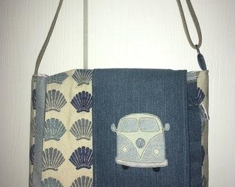 Denim VW Camper Van with Sea Shells Messenger Bag
