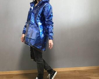 Shiny raincoat bright blue ultramarine color with hood / hooded raincoat