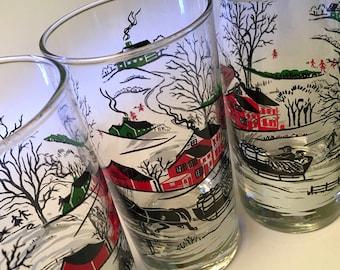 Set of five vintage winter wonderland scene glass tumblers