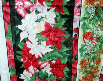 """Fabric Red & White Poinsettias w.Pine Cones in Panels 71"""" x 44"""" Licensed"""