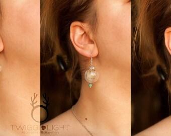 Dandelion hollow hand-blown beads earrings