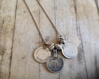 Vintage Multi-Coin and Tibetan Silver Bead Statement Necklace