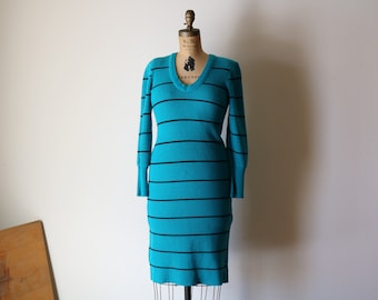 Teal Sweater Dress | s/m knit v neck long sleeve 80s 90s vintage body con midi new wave 1980s 1990s aqua STRIPE DRESS striped small medium M