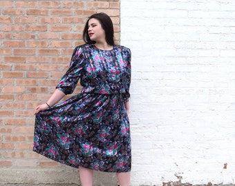 80s Vintage Dress | Black Dress | Floral Dress | Paisley Print Dress | Large Dress L | Size 14 Dress | 80s Prom Dress | 80s Theme Party