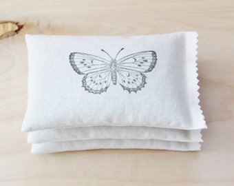 3 Lavender Pillows - 2nd Anniversary Gift for Her, Romantic Cotton Anniversary, Butterfly