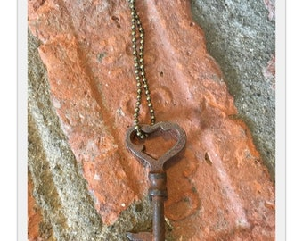Antique Skeleton Key Necklace - Heart - Antique Skeleton Key - Vintage Skeleton Key - Antique Key - Vintage Key - 1800's Skeleton Key