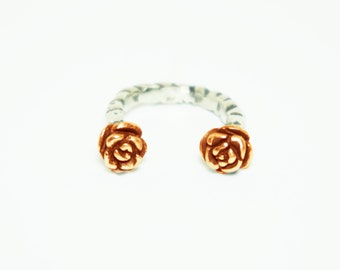 Rose Duel Ring || Two Rose Sterling Silver Ring || 18kt Rose/Yellow Gold