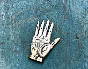Palmistry Palm Reading Hand Lapel Pin Pinback Button or Necklace with Silver Chain