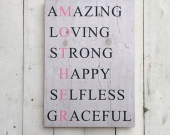Mother Acrostic | Mother Acrostic Sign | First Mothers Day | Amazing Loving Strong Happy | Pallet Sign | Mother's Day Gift | Mother Gift
