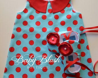 Aqua Red Polka Dot Retro A-line Dress Shoes Set Infant Outfit Baby Shoes