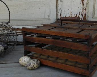 Antique Wooden Egg Crate Box, Farmhouse Antiques