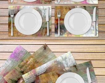 Set of 4 artistic tablemats printed on Vinyl textured fabric - Kitchen Decor - Housewarming gift idea